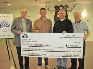 OC Elks Presents $2,500 Check To Berlin Little League