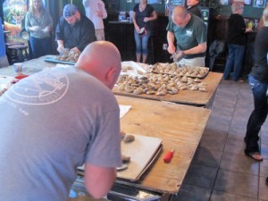 Oyster Shuckers Set Fast Pace