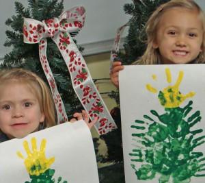 Pre-K Students At Seaside Christian Academy Create Handprint Christmas Trees
