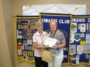 Kiwanis Club Of Greater Ocean Pines-Ocean City Present Award For July 2013 Volunteer Of The Month