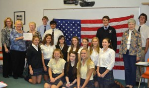 """Samuel Chase Chapter Of The Daughters Of The American Revolution Present """"The Flag of the United States of America"""" To Students Of Worcester Preparatory School"""