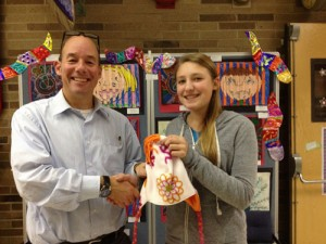 Lauren Paulsen From Girl Scout Troop 256 Of Berlin Donates Fleece Hats For Students At Showell Elementary School