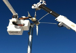 Smaller Wind Turbine Collecting Data In Berlin In Advance Of Larger One