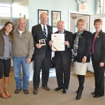 Berlin's efforts to maintain business and resident districts were recognized last week by Maryland Comptroller Peter Franchot with a proclamation. Pictured, above left, from left, are Main Street Coordinator Megan Houston, County Commission President Bud Church, Franchot, Mayor Gee Williams, Councilwoman Lisa Hall and Town Administrator Laura Allen. Photo by Charlene Sharpe