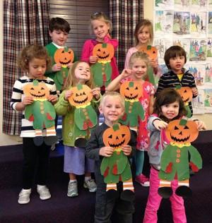 Pre-K Worcester Prep Students Enjoy Creating Pumpkin Scarecrows