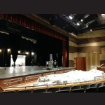On Thursday morning, crews were busy cleaning the new performing arts auditorium in advance of next week's first event. Photo by Joanne Shriner