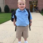 Alex Wood, who turned 5 years old this week, is pictured last month on the first day of pre-kindergarten at Most Blessed Sacrament school.