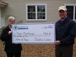 Bank Of Delmarva Donates $500 To Delmarva Teen Challenge, Home Of Hope