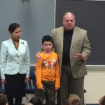 Gov. Larry Hogan and wife Yumi are pictured with Lucas Magathan, who recently battled leukemia.