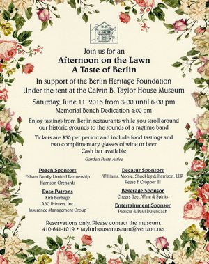 Berlin Heritage Foundation To Host Afternoon On The Lawn