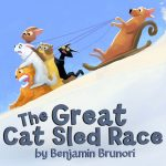 """The cover of the book, """"The Great Cat Sled Race,"""" is shown."""