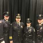 The Ocean City Police Department last week welcomed three new officers who recently graduated from the Eastern Shore Criminal Justice Academy. Pictured,, from left, are Officer Samuel Faggert, Chief Ross Buzzuro, Officer Jessica Johnson and Officer Corwin Vincent. Submitted Photo
