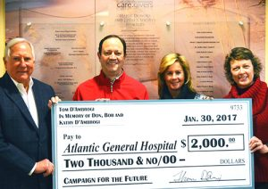 AGH Foundation Receives $2,000 Donation In Memory Of Don, Bob And Kathy D'Ambrogi