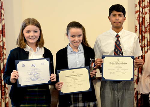 Three Worcester Prep Students Presented With Awards For  Three Worcester Prep Students Presented With Awards For Winning Dar American  History Essay Contest I Need A Business Plan Writer also English As A Global Language Essay  Essays On Different Topics In English