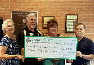 Ireland RnR Tours Presents $1,000 Donation To Worcester County Library Foundation