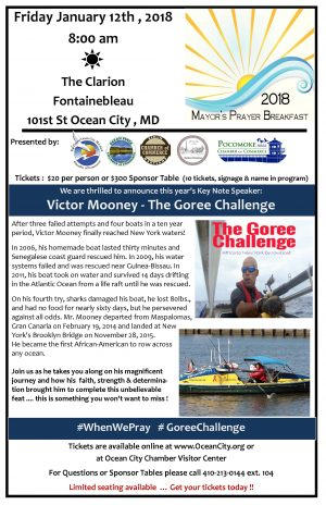 Mayor's Prayer Breakfast Tickets On Sale; Speaker Completed 21-Month Rowing Awareness Journey