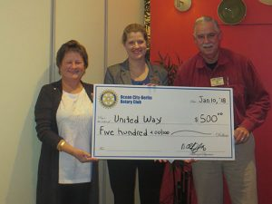 Ocean City-Berlin Rotary Club Presents Donation To United Way