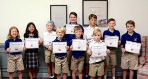 Ten Worcester Prep Lower School Students Earn Perfect Attendance Cerificates