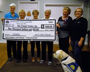 Ocean City Elks Lodge 2645 Ladies Auxiliary Presents $1,000 Check To CRICKET Center