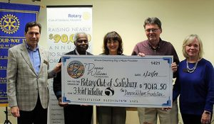 Rotary Club Of Salisbury Thanks The Donnie Williams Foundation For Its More Than $7,000 Contribution