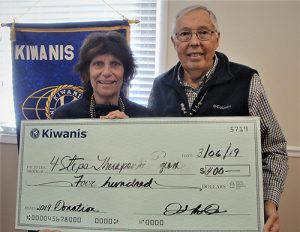 Kiwanis Club Of Greater Ocean Pines-Ocean City Presents 4STEPS Executive Director Sandy Winters With $400 Donation