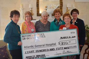 Retired Nurses Of Ocean Pines Present $850 Check To AGH Benefiting The James G. And Nancy W. Barrett Nursing Scholarship Program