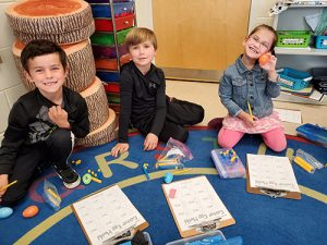 Ocean City Elementary First Grade Class Uses Base 10 Blocks To Solve Easter Egg Math Facts