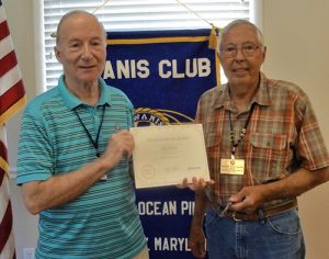 Purvis Named Kiwanian Of The Month By The Kiwanis Club Of Greater Ocean Pines-Ocean City