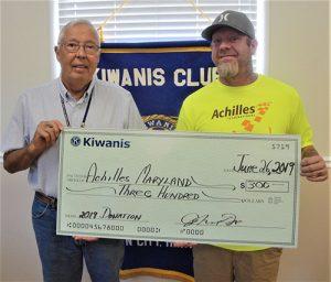 Kiwanis Club Of Greater Ocean Pines-Ocean City Donates $300 To Achilles International Maryland