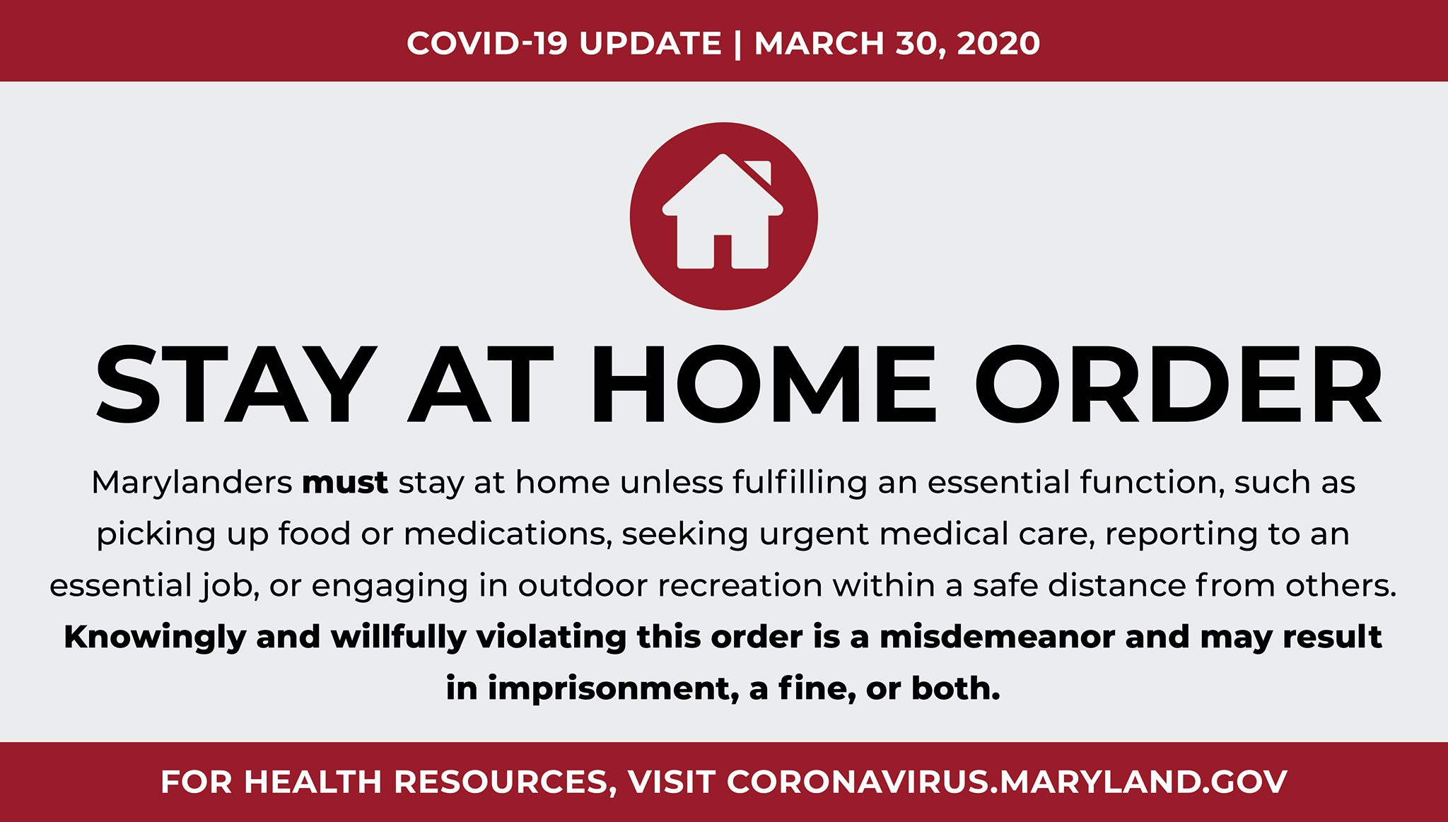 Stay At Home, Maryland Governor Orders