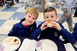 Worcester Prep Students Wait To Sample Their Work During Bread Sale