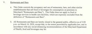 Governor Closes Maryland Restaurants, Bars, Gyms, Theaters