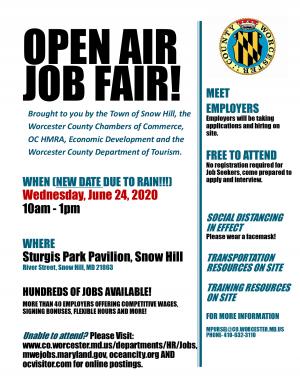 UPDATE: Event Postponed Until June 24; Open-Air Job Fair Set For Snow Hill