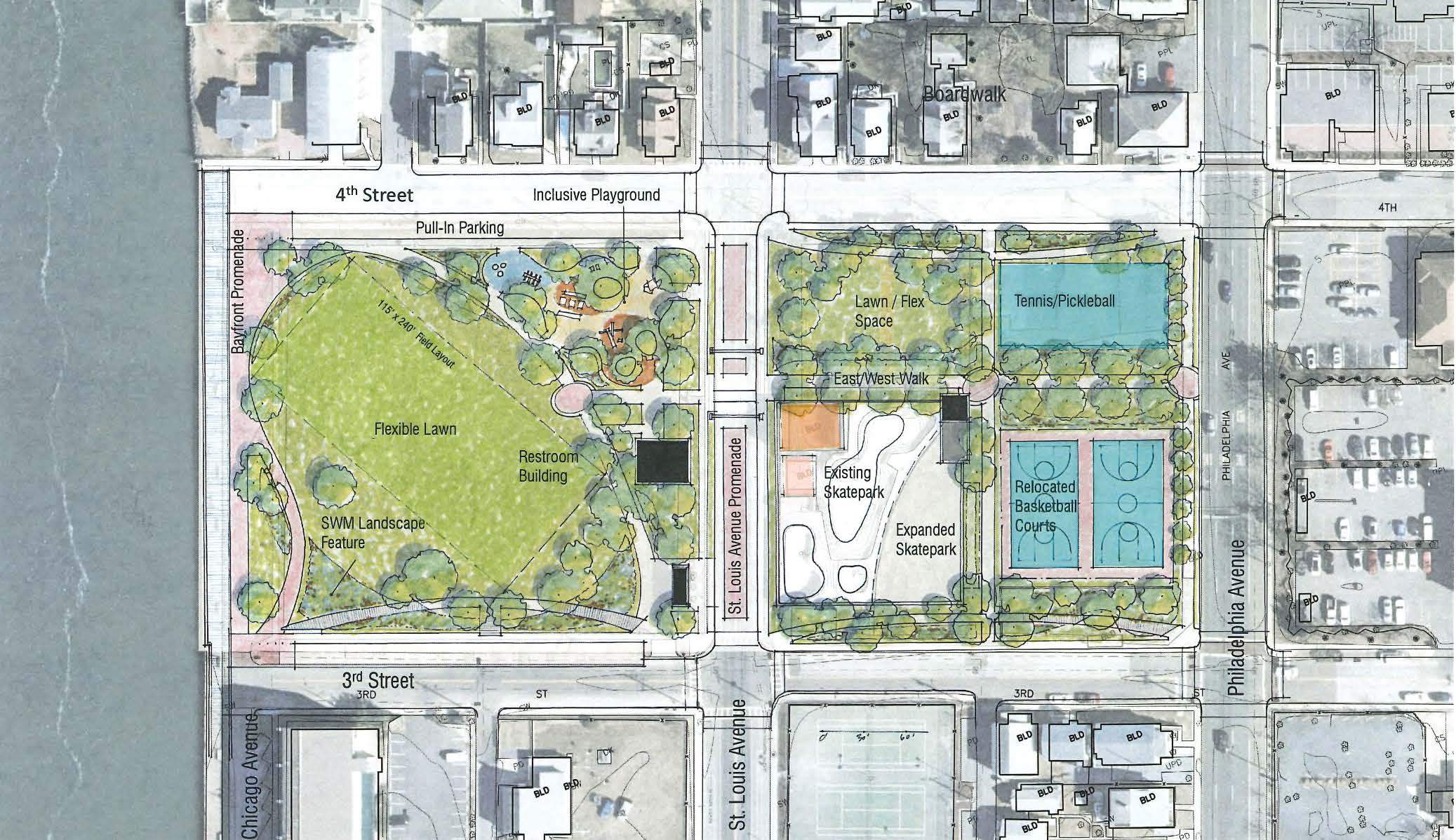 OC Downtown Park Complex Redesign Reviewed; Consultant's Plan Would Close St. Louis Avenue
