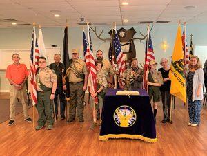 Troop 225 Present Flags At Elks Lodge