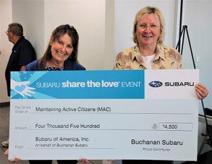 "Buchanan Subaru Presents ""Share The Love"" Proceeds To MAC"
