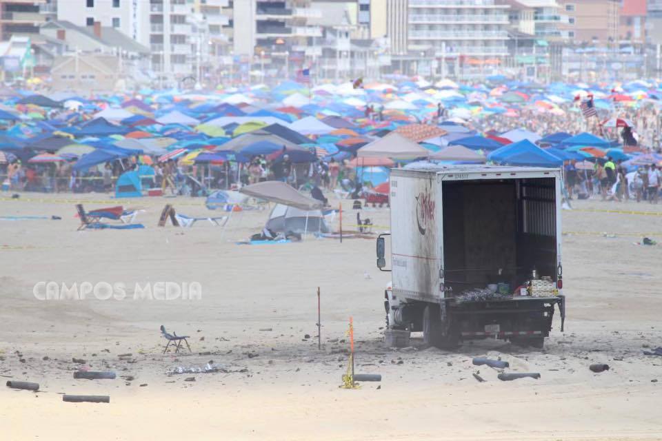 Fireworks incident results in resort cancellation displays;  Beach and promenade reopen after major clean-up