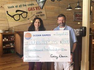 Swim Ocean City Presents Donation To Hopkins Program